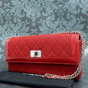 SALE! Chanel Red and Silver Link Chain Bag